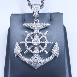 """Icy Anchor Pendant + 20"""" Rope Chain"""
